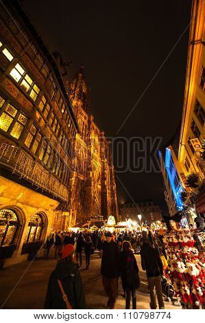 People Visiting Christmas Market