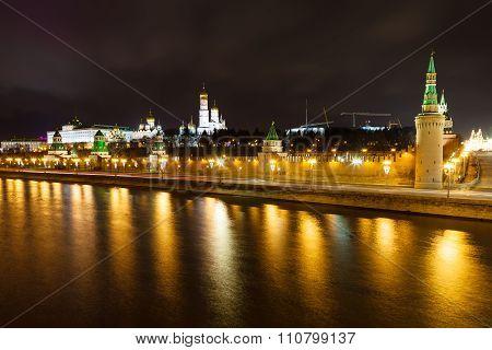 Night Panorama Of Kremlin Embankment In Moscow