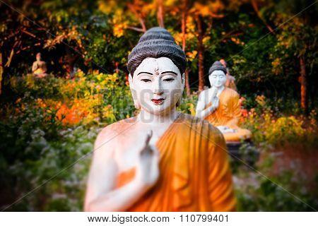 Lot Buddhas Statues In Loumani Buddha Garden.  Hpa-an, Myanmar (burma)