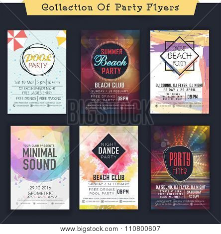 Set of creative abstract Flyer, Banner or Template design for Musical Party celebration.