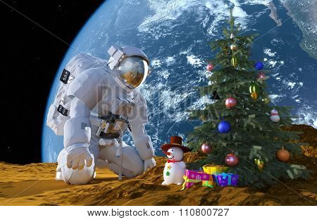 Astronaut and Christmas tree on the background of the globe.