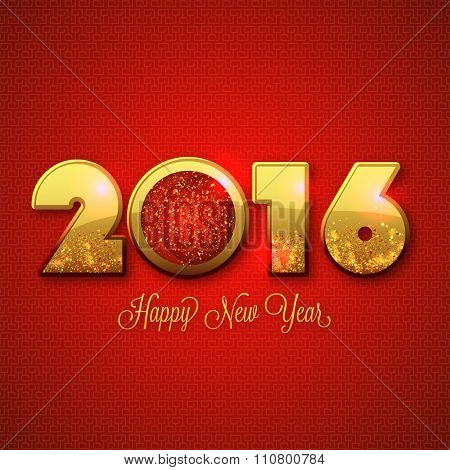 Elegant greeting card design with stylish golden text 2016 on shiny red background for Happy New Year celebration.
