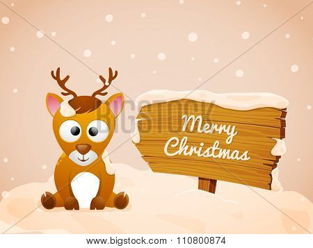 Cute Reindeer sitting on glossy winter background for Merry Christmas celebration.
