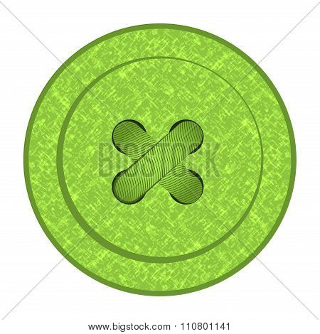 Round vector button with green sewing texture holes and thread