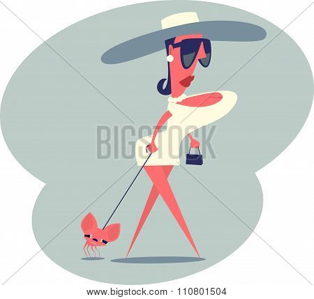 Woman walking with a dog.