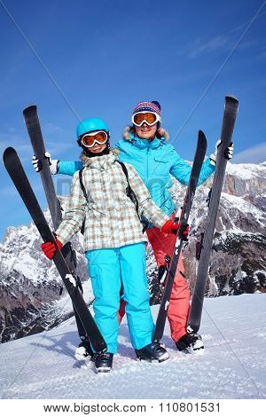 Skiers enjoying winter vacations