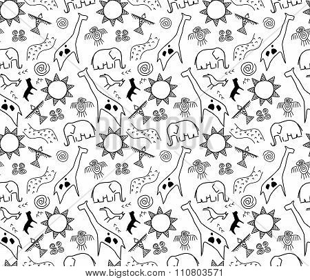 rock art seamless pattern