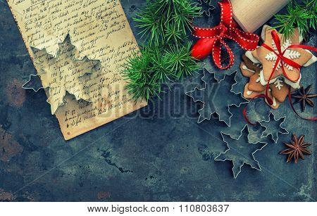 Christmas Food. Baking Tools, Recipe Book, Cookies Retro Style