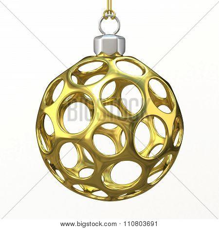 Gold Christmas ball. 3D render