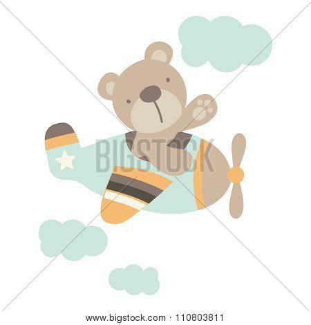 Vector Bear navigating Aeroplane Illustration