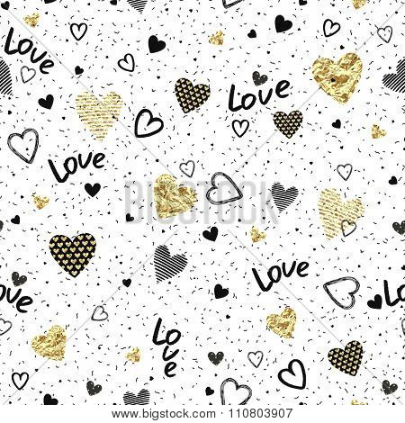 Seamless pattern of randomly distributed confetti and texture hearts on white background for Valentine's Day.