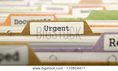 Urgent Concept on File Label.