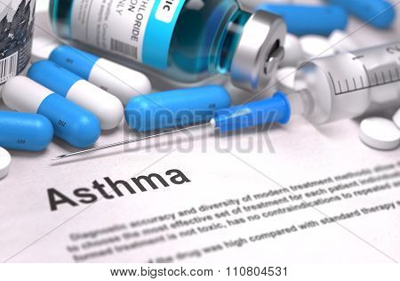 Diagnosis - Asthma. Medical Concept. 3D Render.