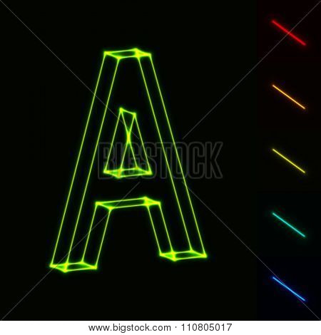 EPS10 vector glowing wireframe letter A - easy to change color