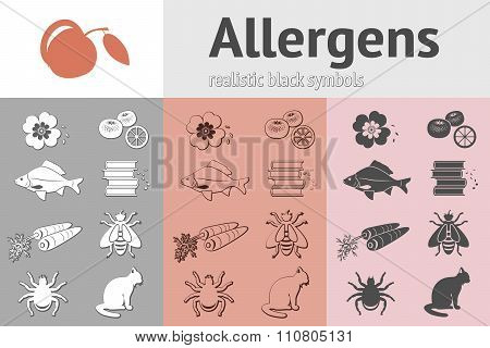Allergen set. Fish cat insect honey bee apple mandarin carrot book dust pollen icons. Food and commo