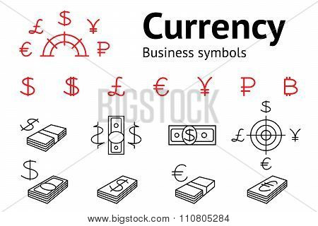 Dollar, Euro, Pound Yen Ruble Bitcoin currency icons set. USD, EUR, JPY  GBP RUB money sign symbols.