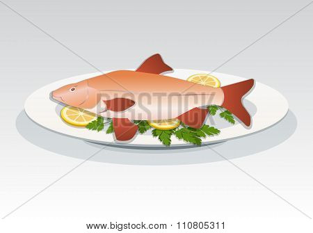 Fish icon. Crucian on white plate with lemon and herbs. Food, seafood dish symbol. Vector isolated.