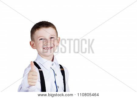 Little boy with thumb up gesture
