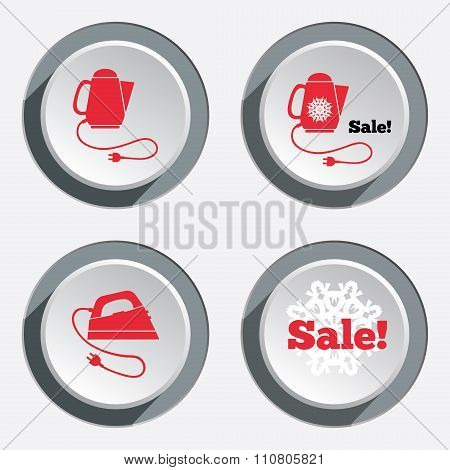 Electric kettle, iron, sale icon set. Kitchen equipment and two-pin plug symbols. Round circle butto