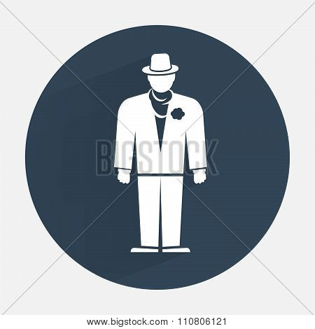 Businessman icon. Mafia gangster silhouette symbol. Standing men in suit, hat, boutonniere, scarf. R
