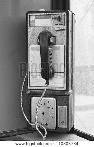 Vintage Pay Phone - Old Pay Telephone With Coin Slot III