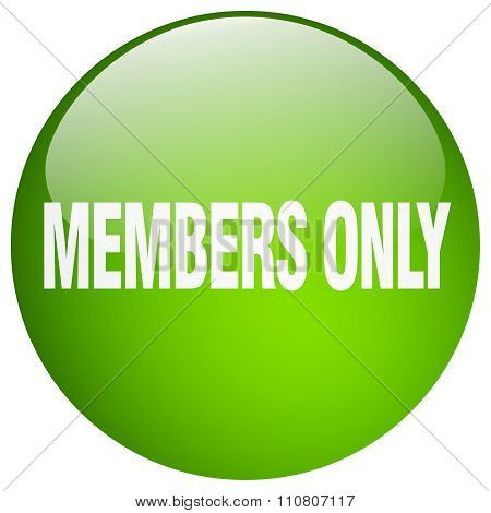 Members Only Green Round Gel Isolated Push Button