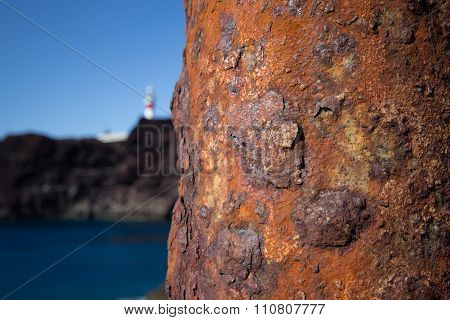 Rusty Pole At Coastline Ocean Background , Rust / Rusted Metal