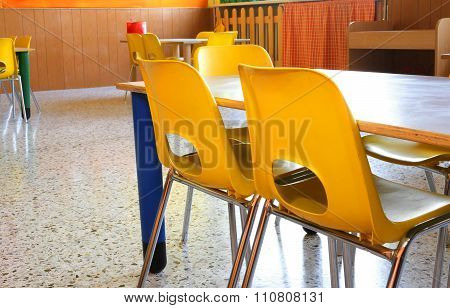Classroom Of A Kindergarten With Little Chairs