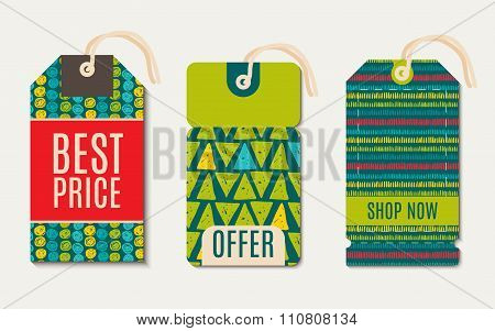 Vector  Hipster  Sale Tags Design  Trend Green Flash Color.