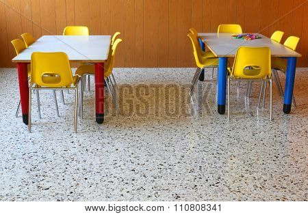 Chairs And Tables In A Kindergarten Classroom
