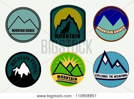 Set of Mountain labels.