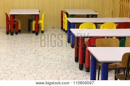 Tables And Chairs In The Refectory Of The Kindergarten
