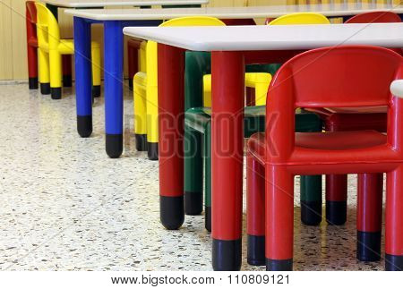 Tables And Chairs In The Refectory Of The Nursery