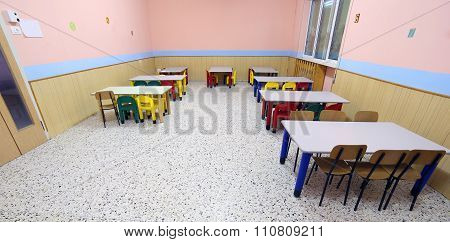 Tables And Chairs In The Dining Room Of The Nursery Canteen