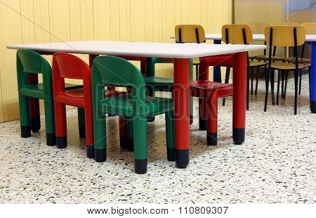 Colored Tables And Chairs In The Dining Room Of The Kindergarten Canteen