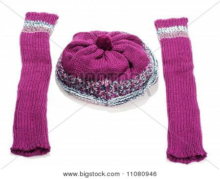 Violet Knitted Winter Hat And Sleeve Covers
