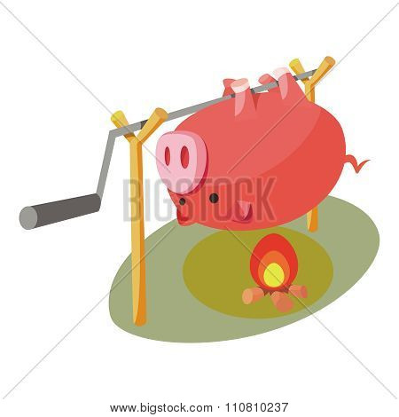 Vector Roast Hog Illustration
