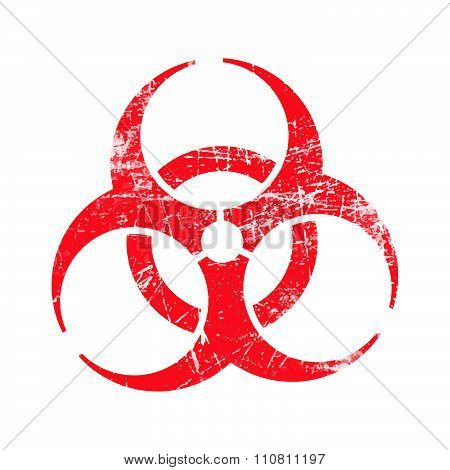 Illustration Vector Red Biohazard Grungy Rubber Stamp Symbol Isolated On White