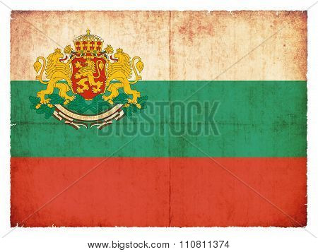 Grunge Flag Of Bulgaria With Coat Of Arms