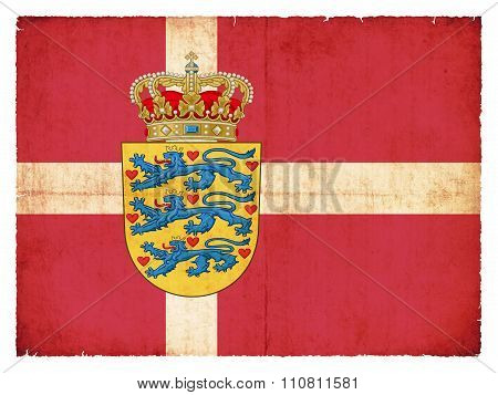 Grunge Flag Of Denmark With Coat Of Arms