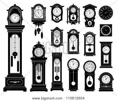 Set of clocks. Vector illustration.