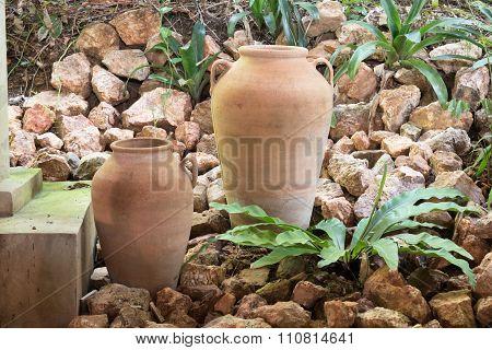 Earthen Jar Tropical Garden Decoration