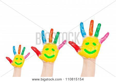 Smiley On Family Hands, Having Fun Concept