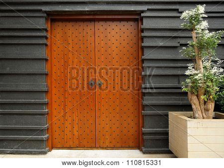 Ethnic wooden studded entrance door