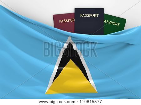 Travel and tourism in Saint Lucia, with assorted passports