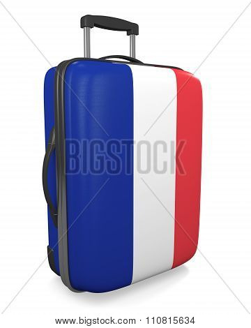 France vacation destination concept of a flag painted travel suitcase
