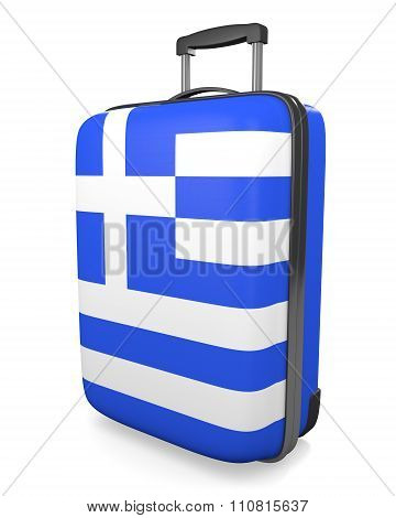 Greece vacation destination concept of a flag painted travel suitcase