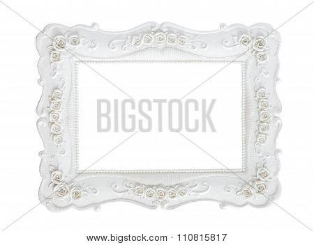 White Vintage Photo Frame Isolated On White.