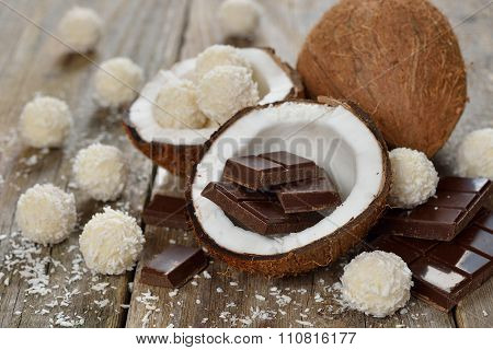 Chocolate, Coconut And Coconut Pralines