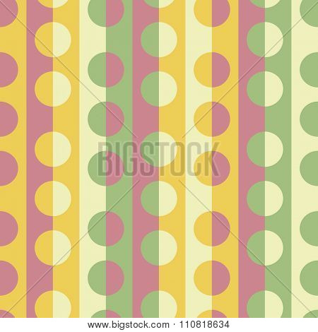 Seamless Stripe and Circle Pattern. Vector Colorful Background